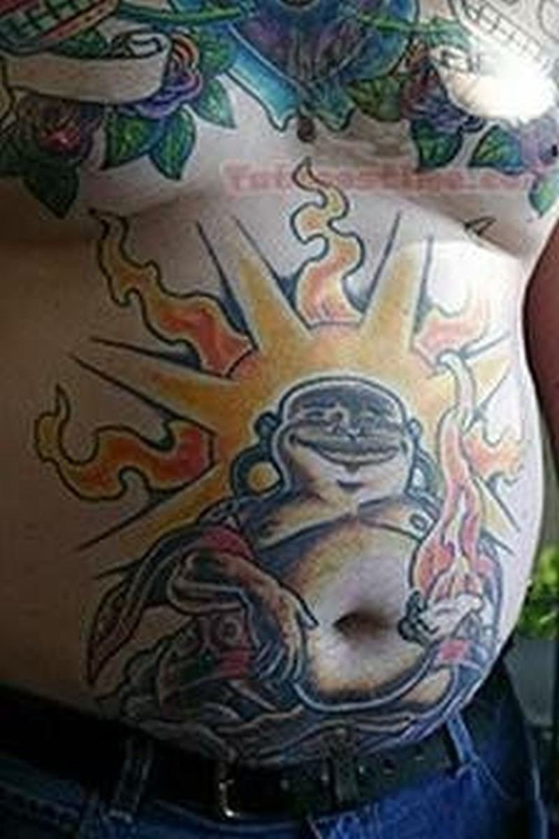 Buddha belly button tattoo