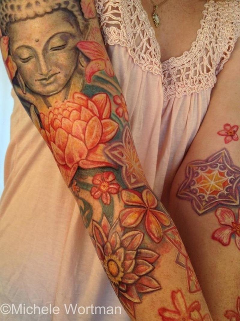 Buddha floral tattoo design on sleeve