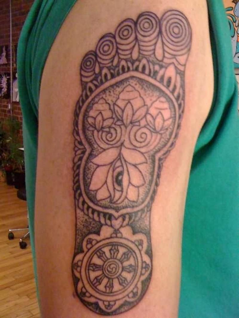 Buddha footprint tattoo design