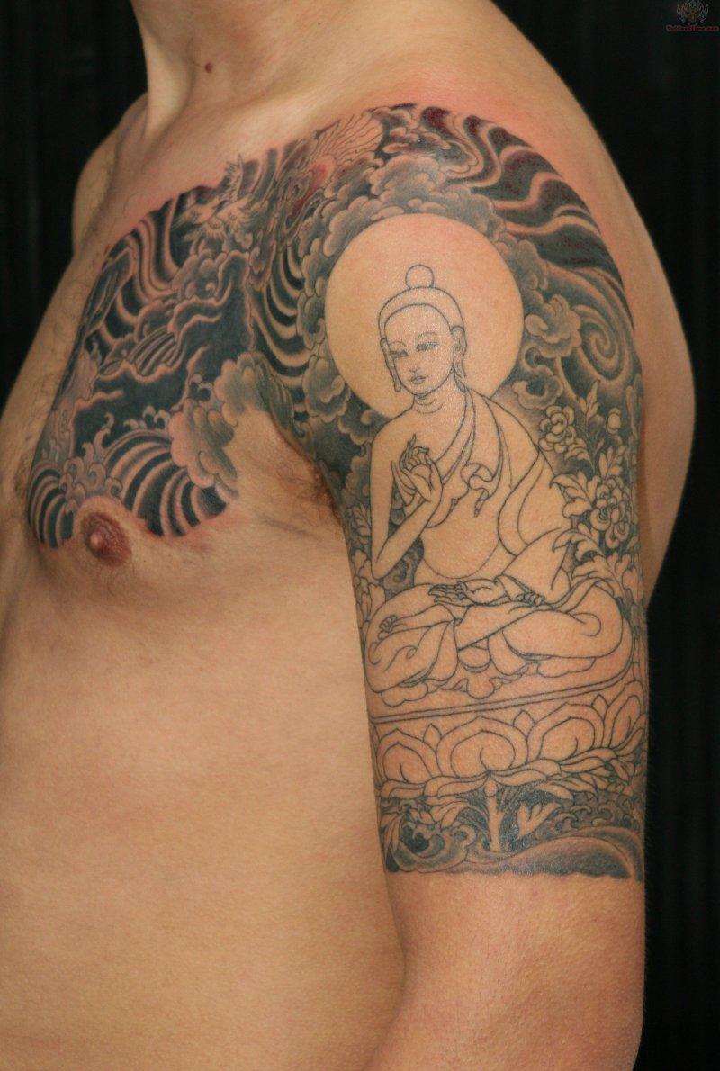 Buddha half sleeve tattoo design