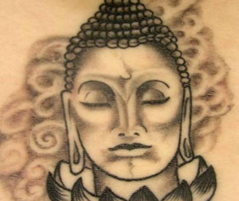 Buddha head lotus tattoo design