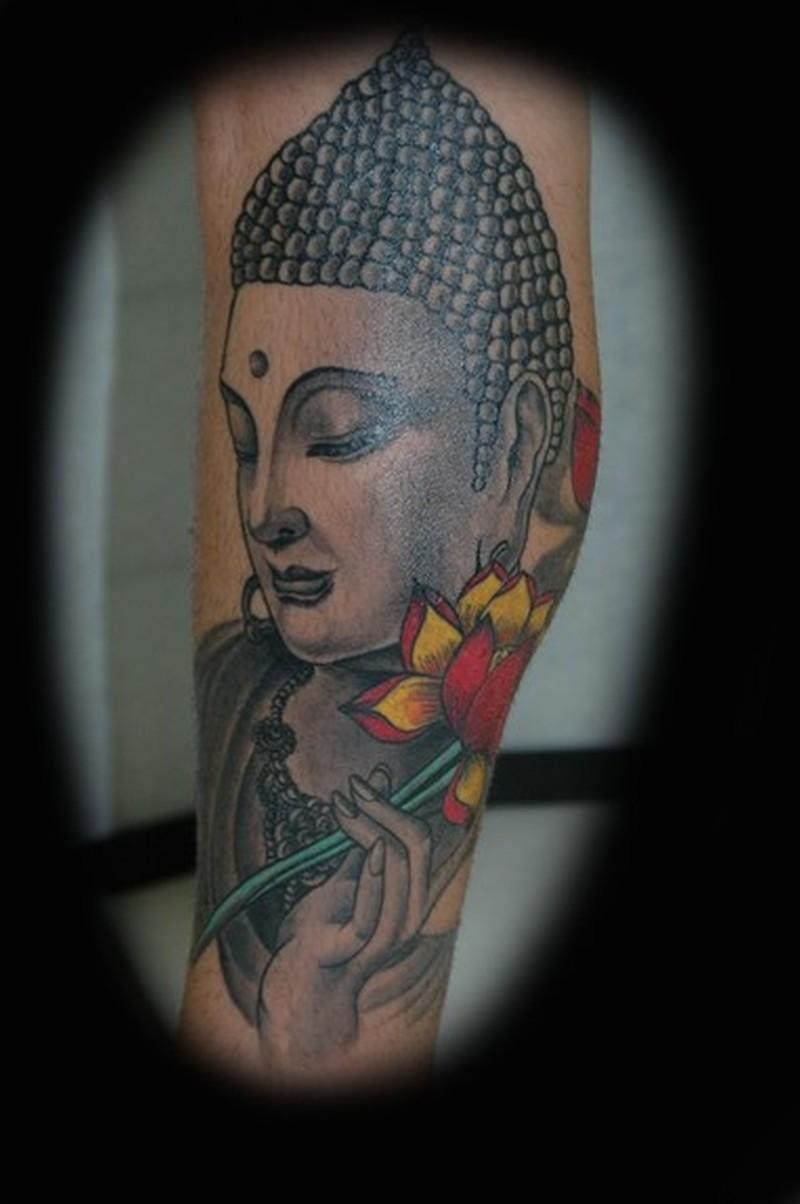 Buddha holding flower tattoo design