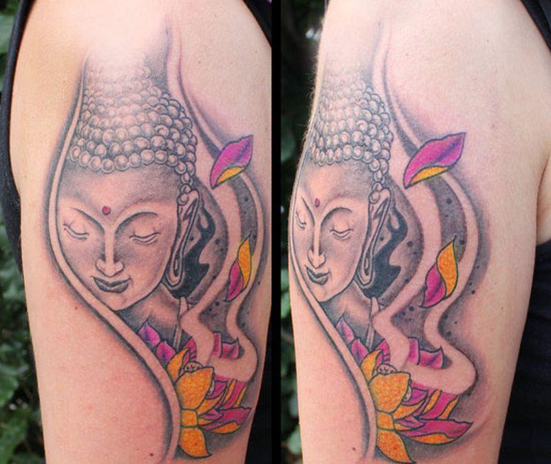 Buddha lotus tattoo on biceps