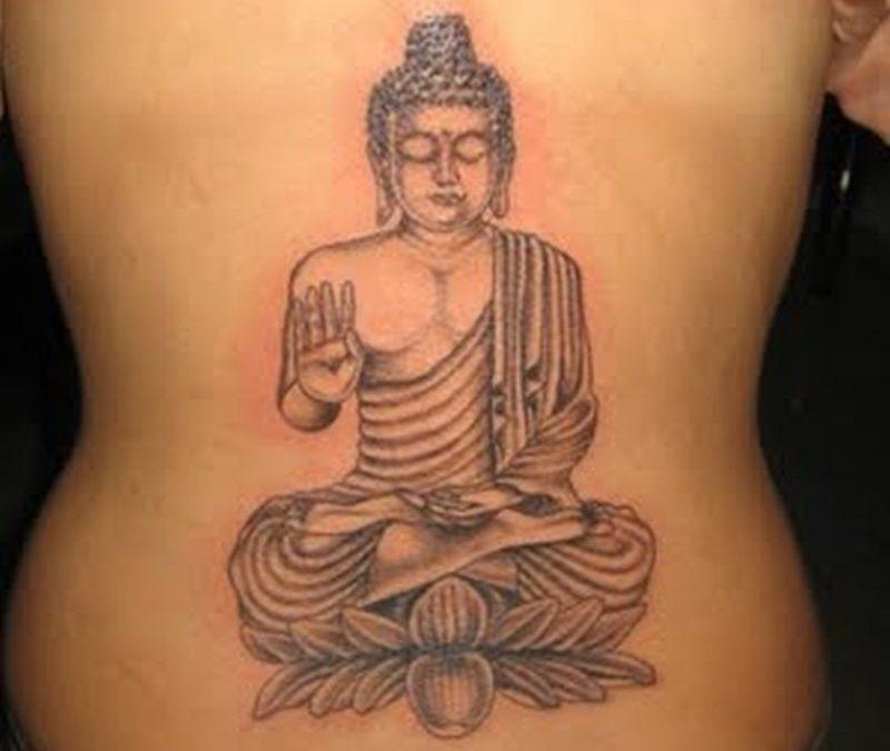 Buddha lower back tattoo design
