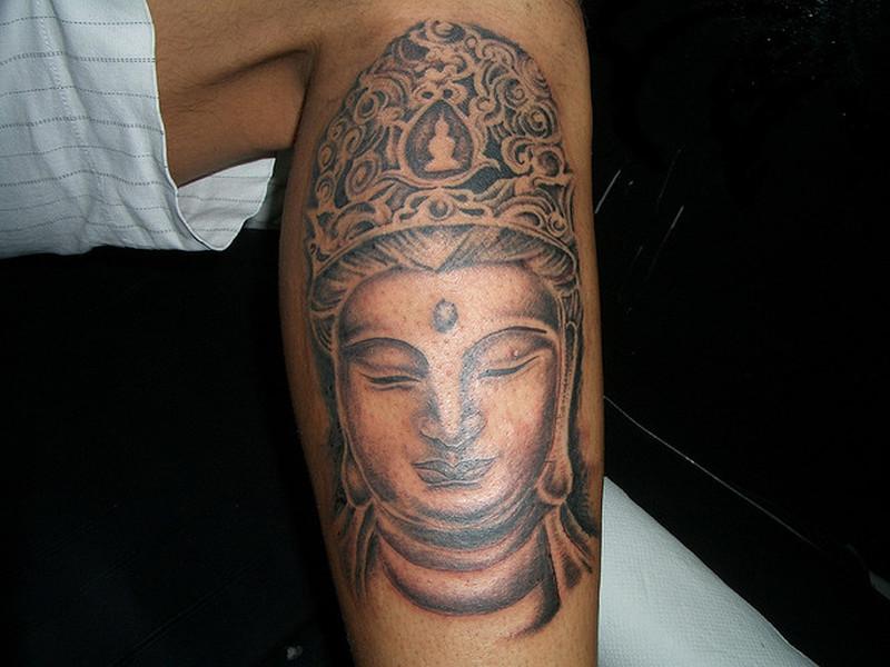 Buddha tattoo for leg