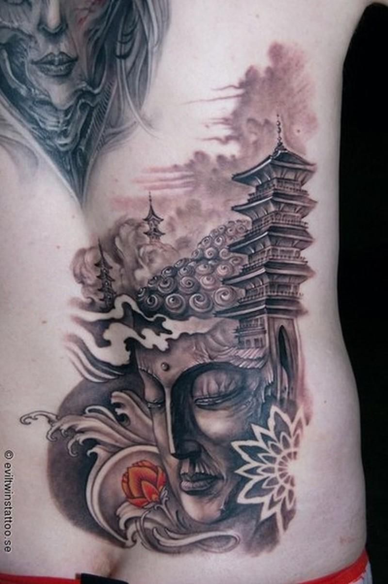 Buddha temple tattoo design