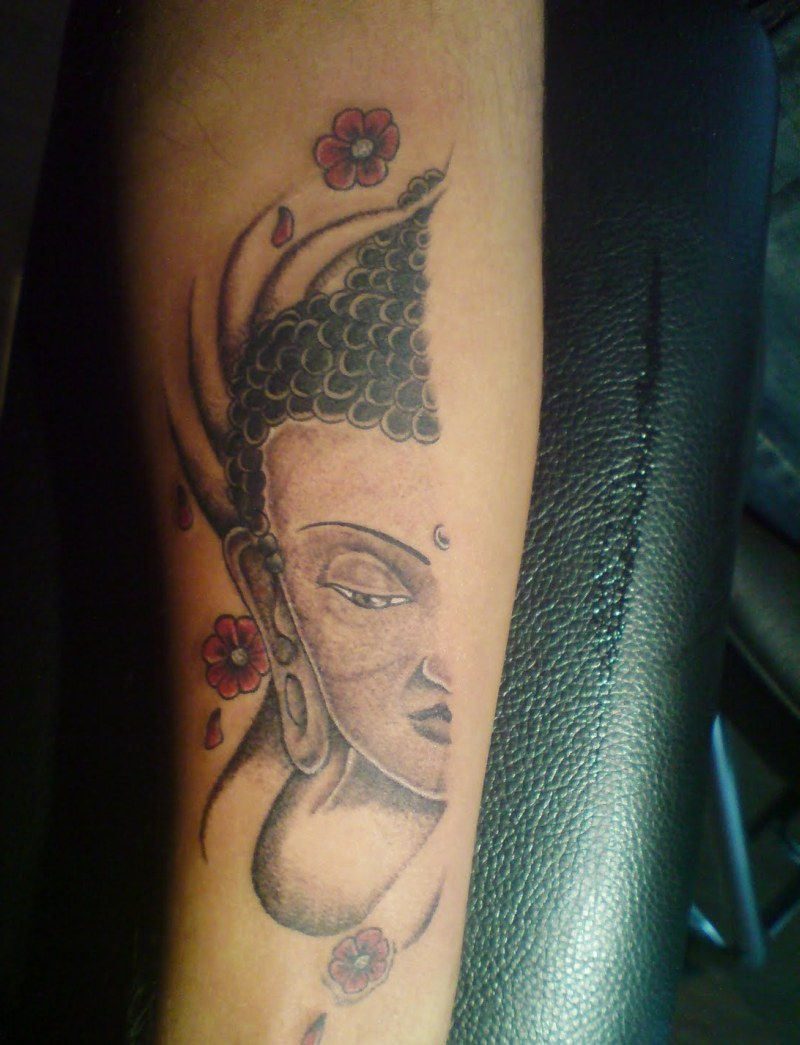 292126102 Buddhist half face tattoo on arm - Tattoos Book - 65.000 Tattoos Designs