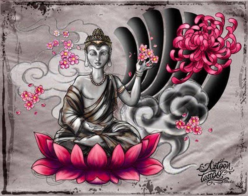 Buddhist lotus tattoo picture