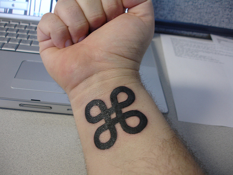 Buddhist symbol tattoo on wrist 2