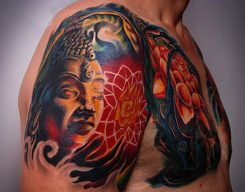 Buddhist tattoo design on shoulder