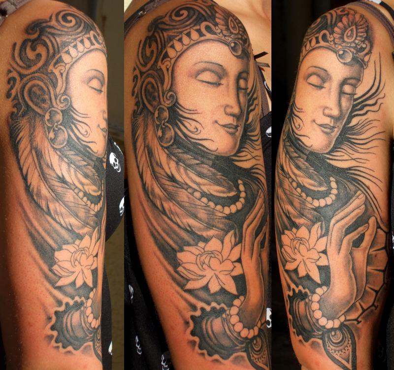 Buddhist tattoo design on sleeve