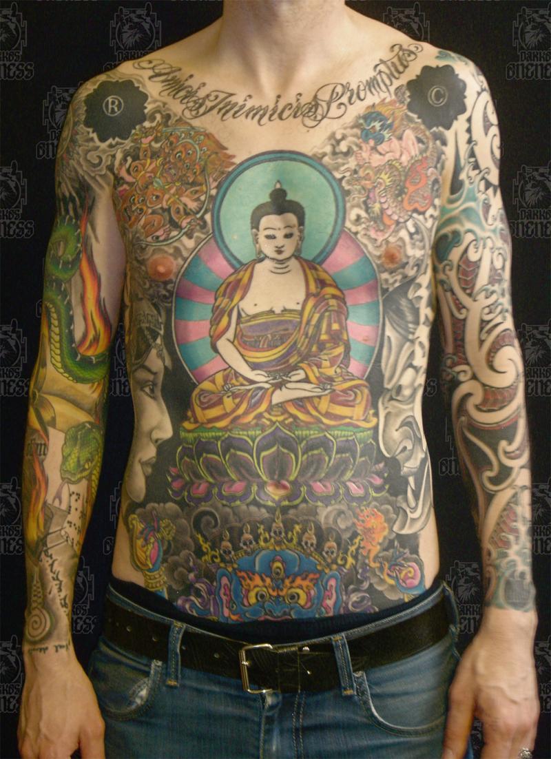 Buddhist tattoo on chest for men