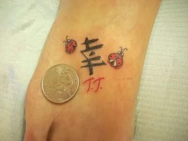 Bug tattoo design for foot