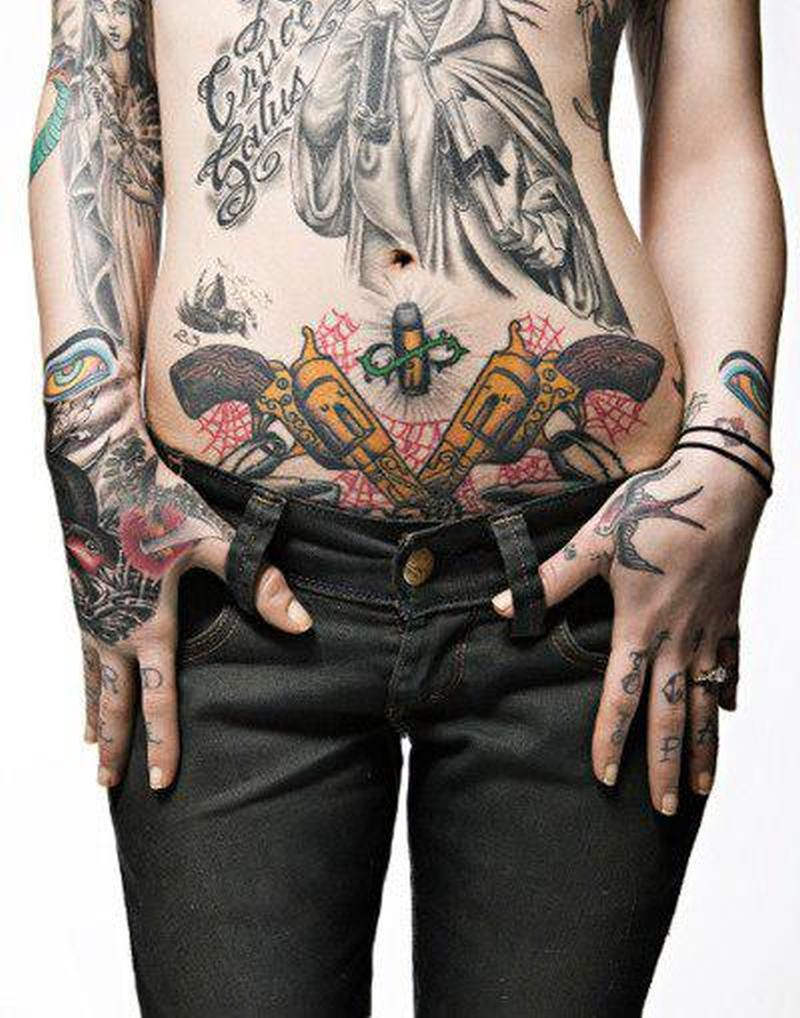 Bullet n guns tattoo on belly for women