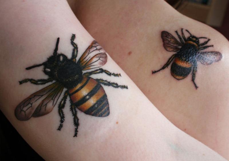 Bumblebee black ink tattoo