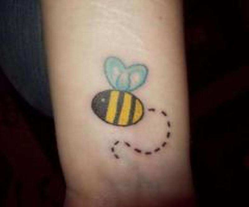 Bumblebee cute tattoo design on wrist