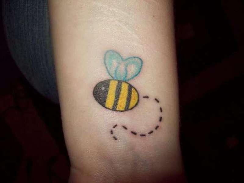 Bumblebee cute tattoo on wrist