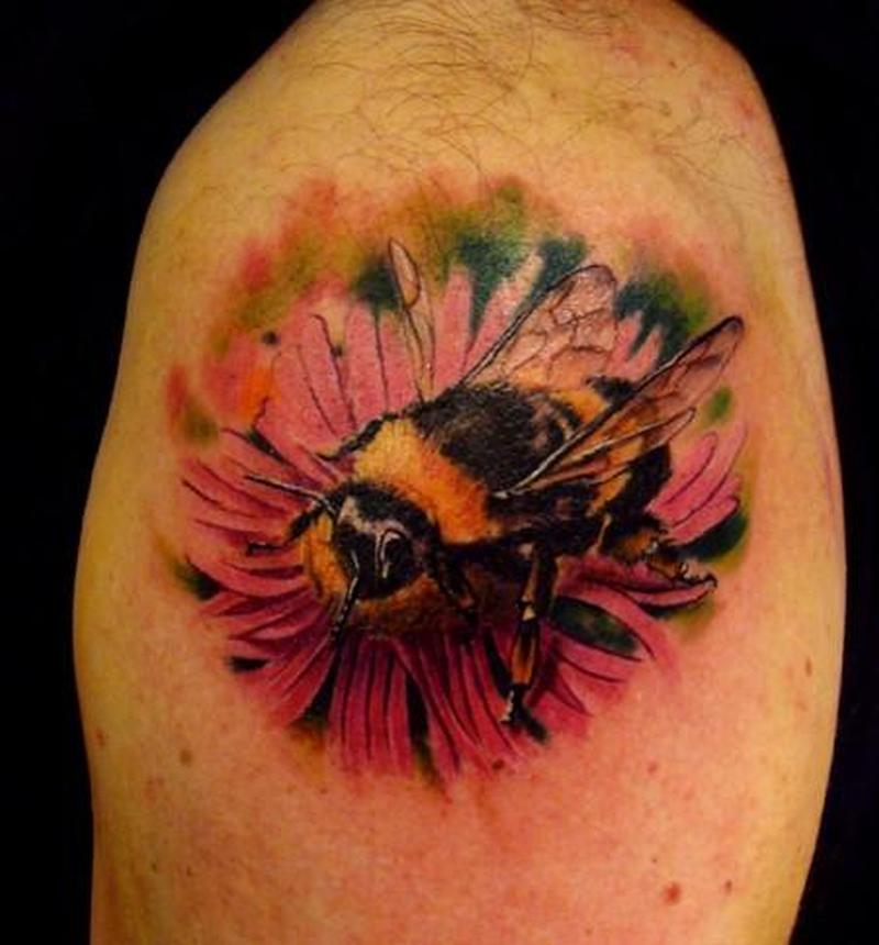 072bb5c4f5d83 Bumblebee on flower design tattoo - Tattoos Book - 65.000 Tattoos ...