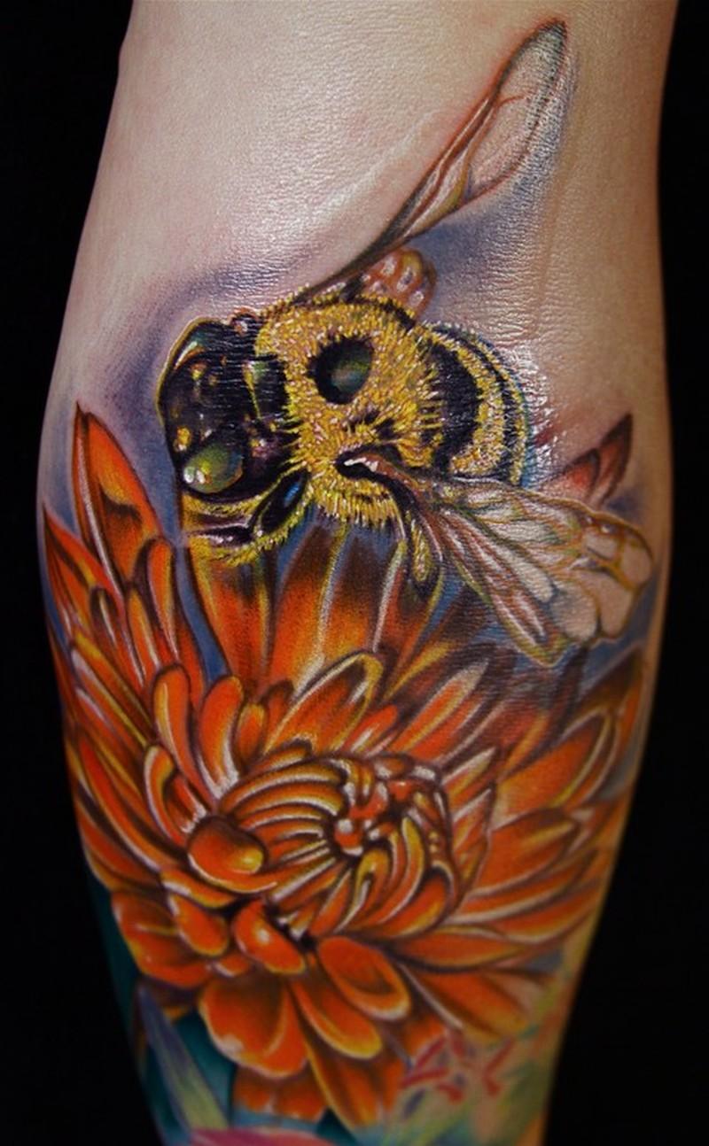 Bumblebee on flowers tattoo