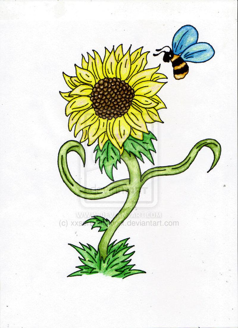 Bumblebee on sunflower tattoo design