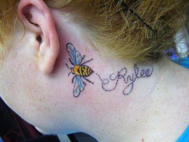 Bumblebee tattoo on back ear
