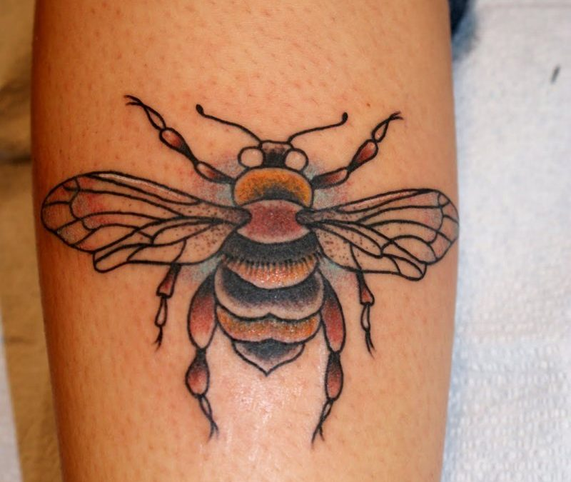 Bumblebee tattoo on calf
