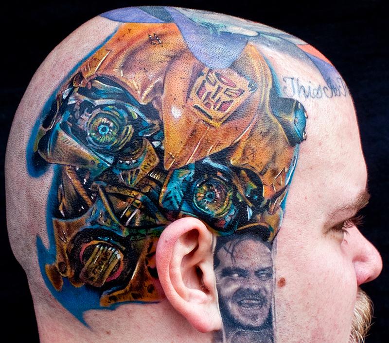 Bumblebee tattoo on head