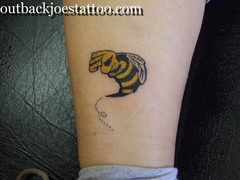 Bumblebee tattoo on leg
