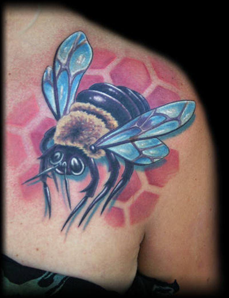 Bumblebee tattoo on shoulder back