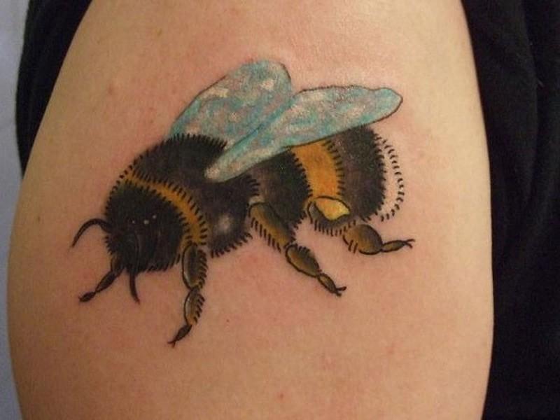 Bumblebee tattoo on shoulder