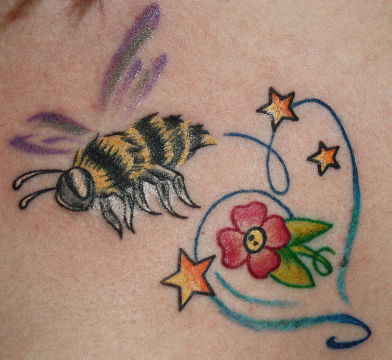 35160258636f6 Bumblebee tattoo with flower stars - Tattoos Book - 65.000 Tattoos ...