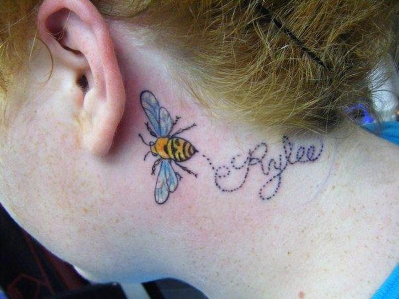 Bumblebee tattoos on back ear