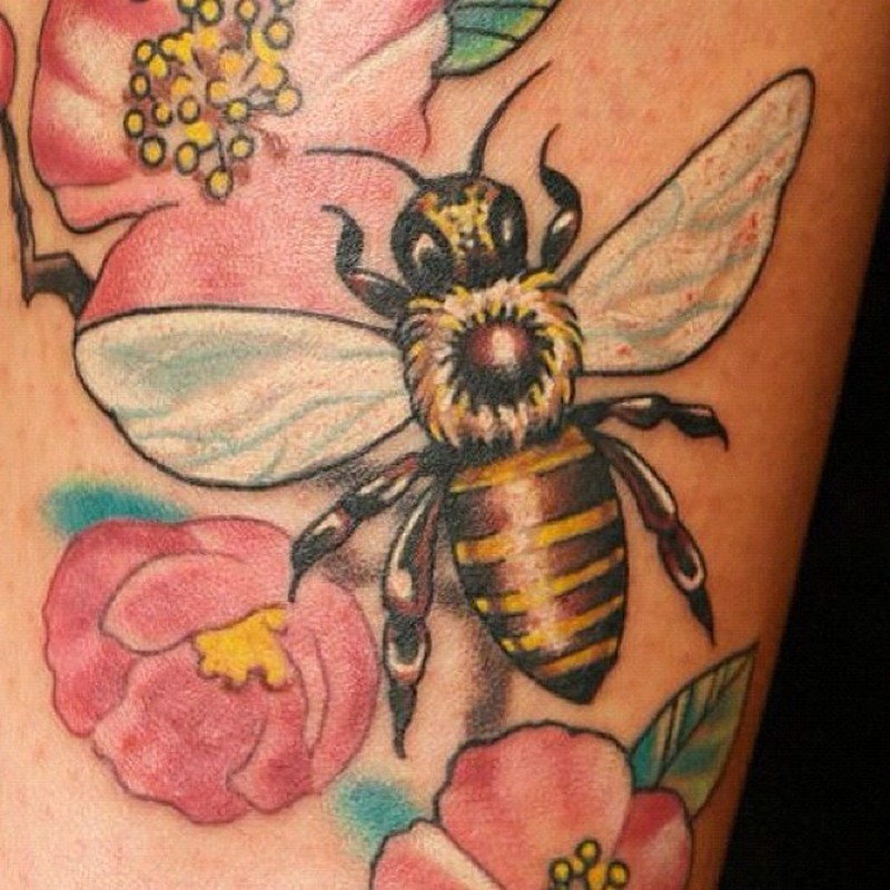 Bumblebee with flowers tattoo design
