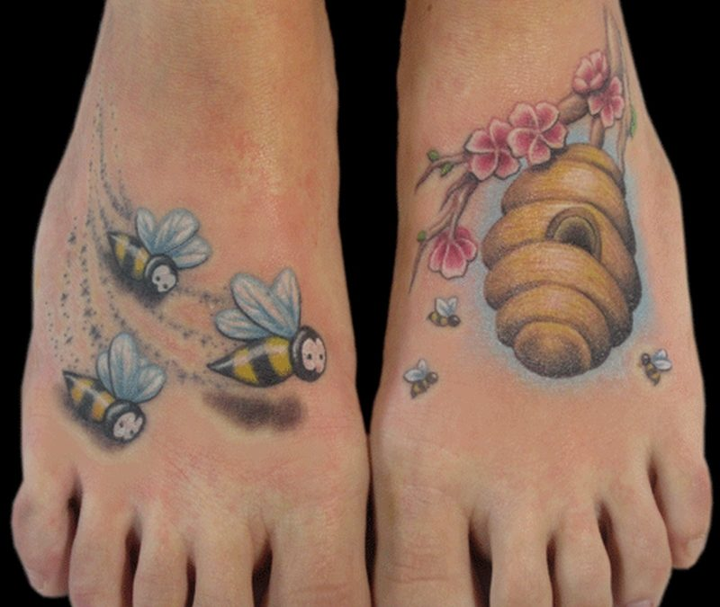 Bumblebees hive tattoo for feet