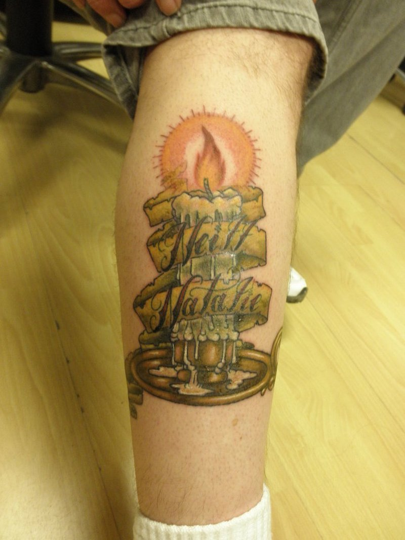Burning candle with banner tattoo design 3