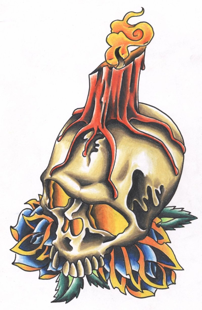 Burning candle with skull tattoo design