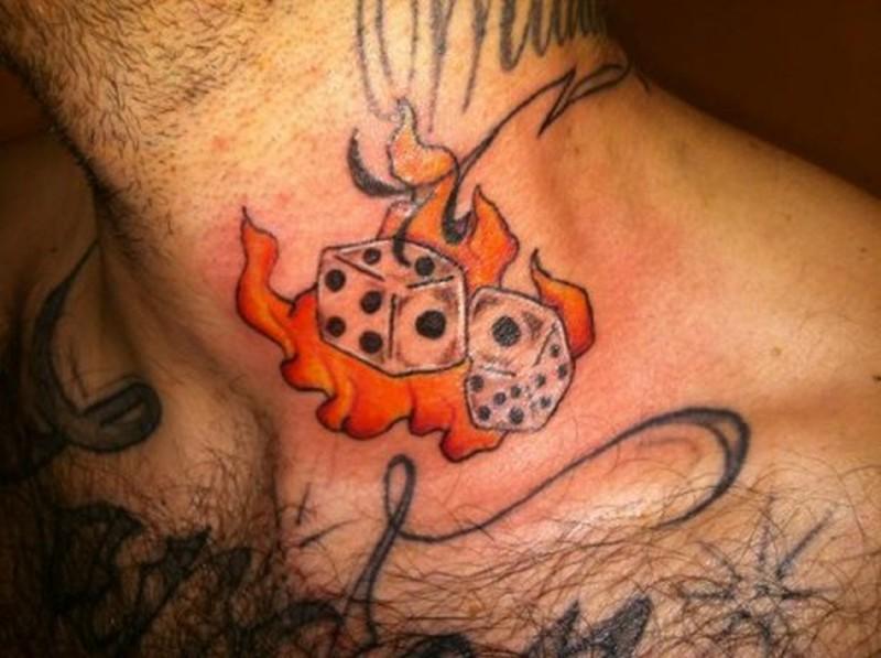 Burning dice tattoo on neck