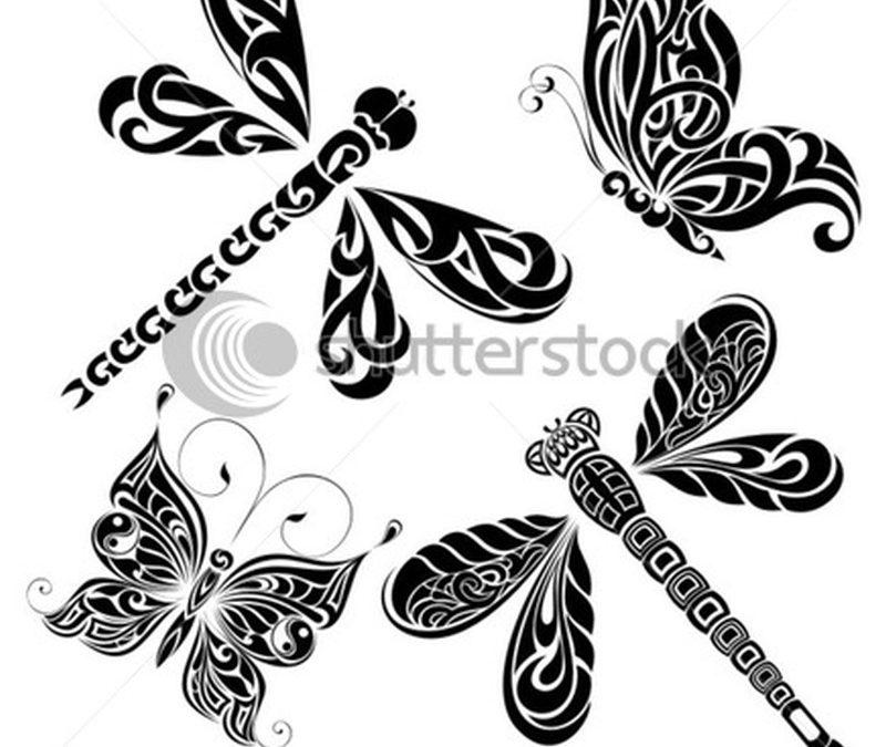 Butterflies n dragonflies tattoo design