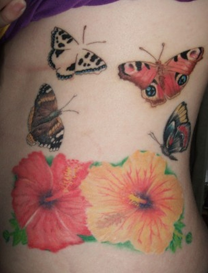 Butterflies n hibiscus tattoo designs
