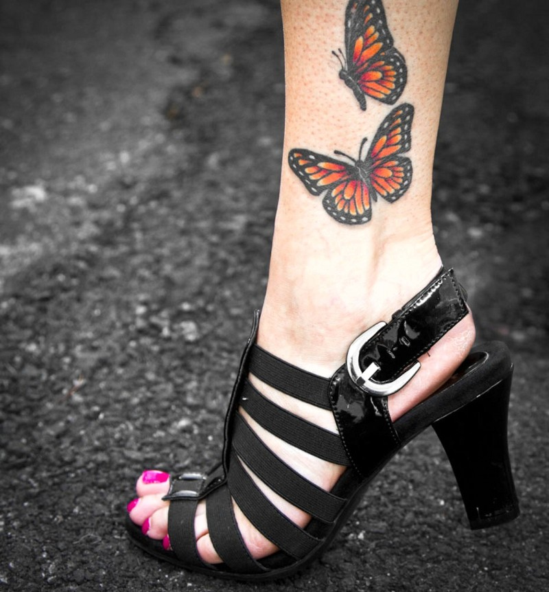 Butterfly ankle tattoo picture