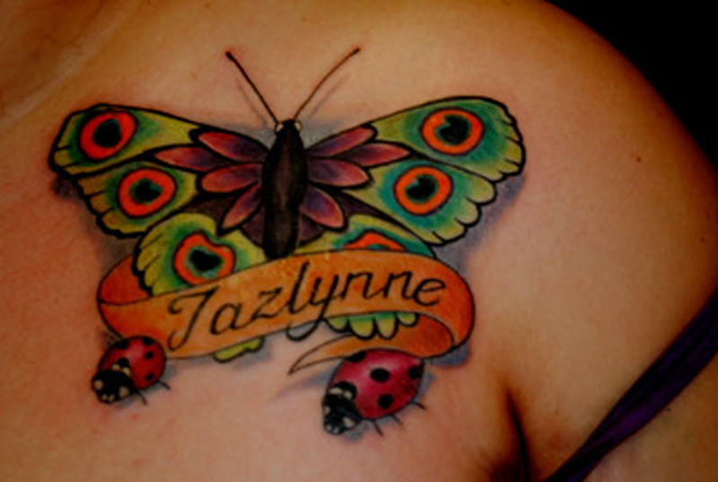 Butterfly banner lady bugs tattoo design