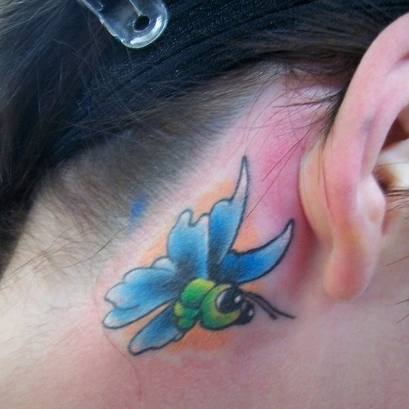 Butterfly behind the ear tattoo design for women