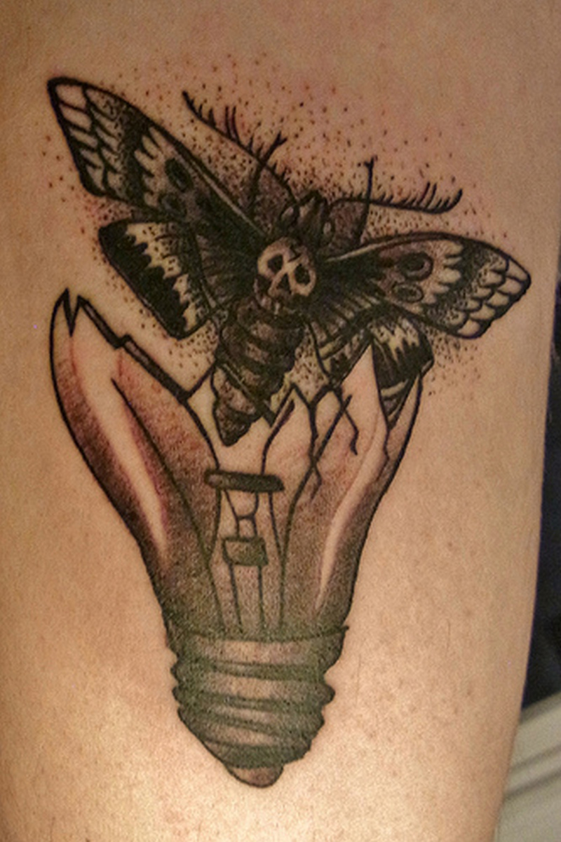 Butterfly broken light bulb tattoo design