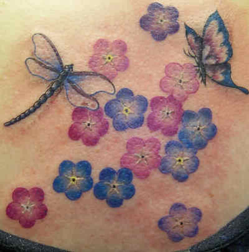 Butterfly dragonfly flowers tattoo design
