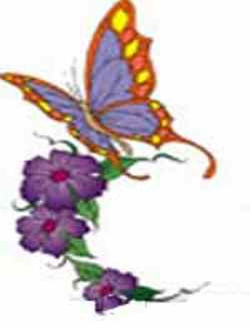 Butterfly floral tattoo design