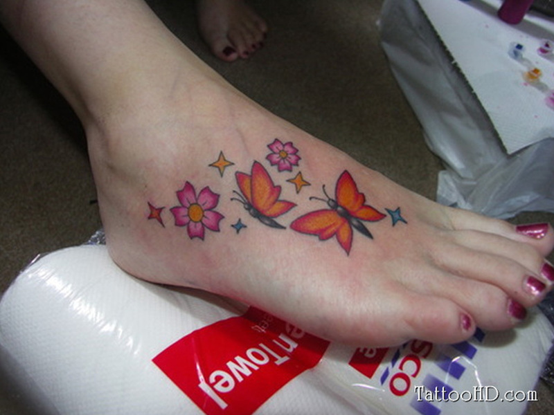 Butterfly foot tattoo 2