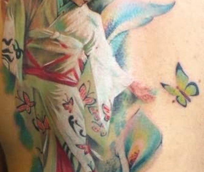 Butterfly geisha girl tattoo design