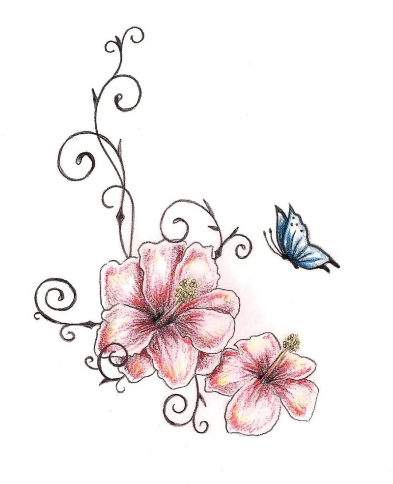 Butterfly N Hibiscus Flowers Tattoo Design Tattoos Book