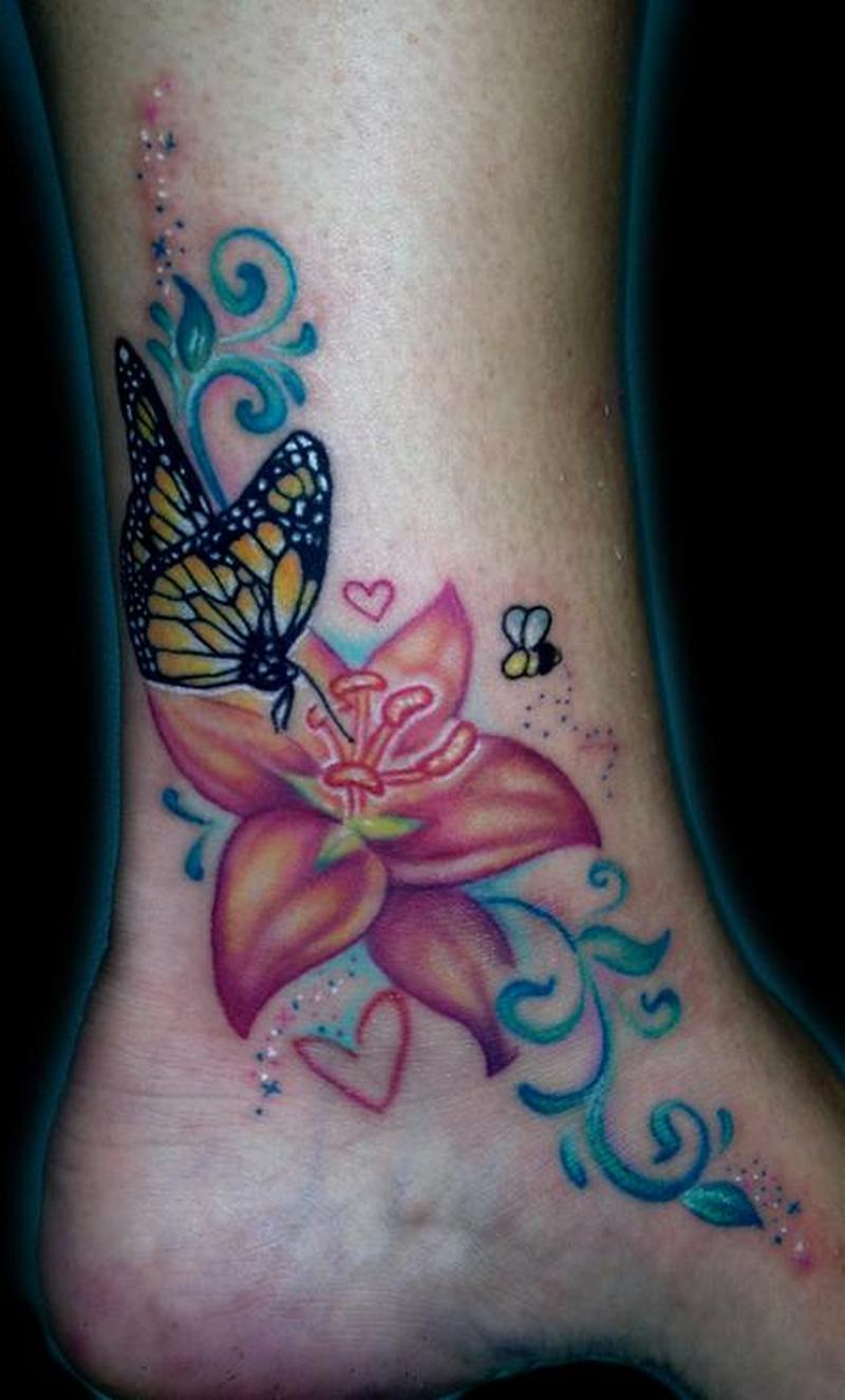 Butterfly on flower tattoo design on ankle