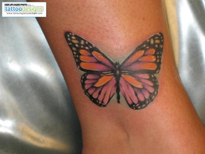 Butterfly tattoo design for ankle